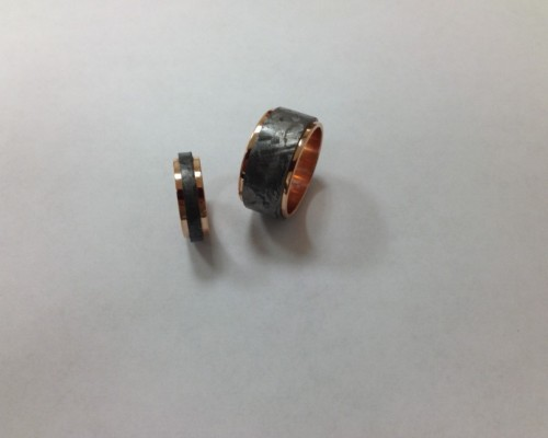 Meterorite and Rose Gold Bands
