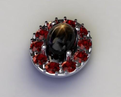Black Star Sapphire Earrings