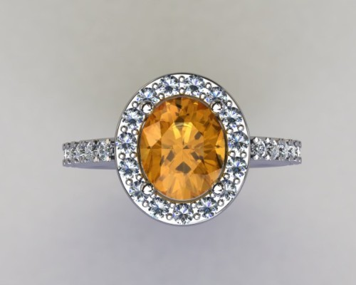 Citrine in white gold