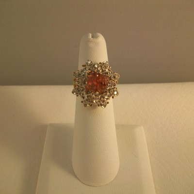 14K Yellow gold with hand carved rose spinel