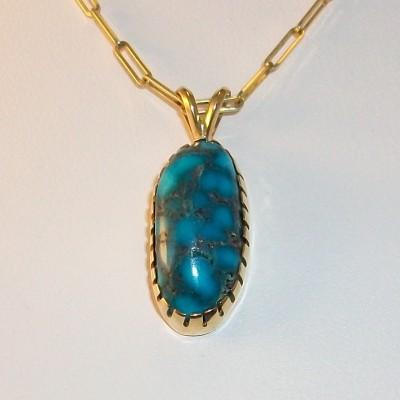 Turquoise pendant bezel set